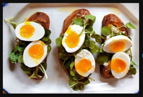 Crostini With Soft Boiled Eggs And Watercress Another