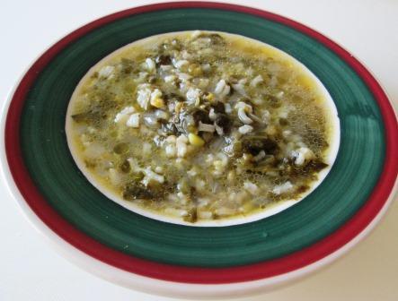 Escarole and rice soup