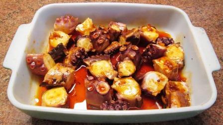 marinating octopus