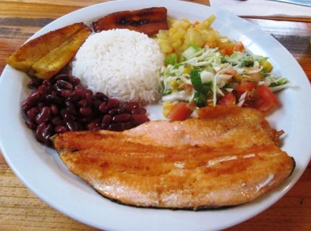 Trout, beans, rice, plantains, cabocha squash, salad