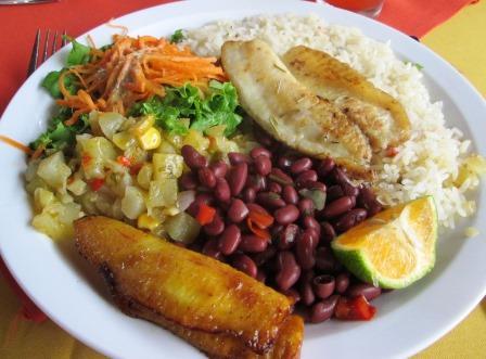 Tilapia, rice, beans, plantain, cabocha squash, salad