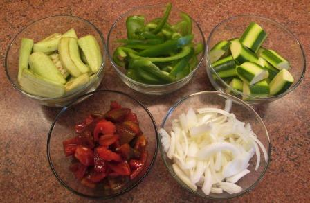 cut up ingredients